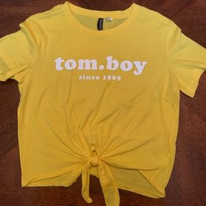 Yellow with White Text Womens Tshirt